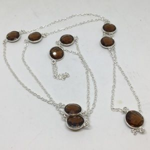 Handmade Jewelry - Smokey Topaz Long Silver Necklace